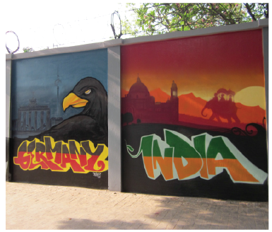 Germany India mural, Artist-Kayo, Location - German Consulate Kolkata