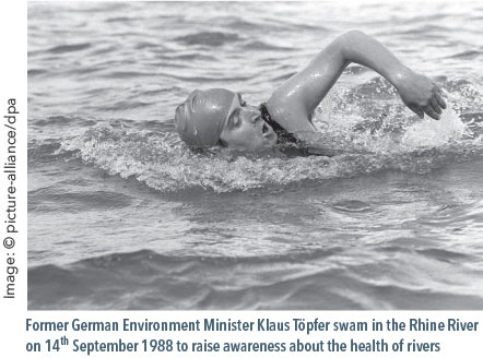 Former German Environment Minister Klaus Töpfer swam in the Rhine River in 1988 to raise awareness about the health of Rivers