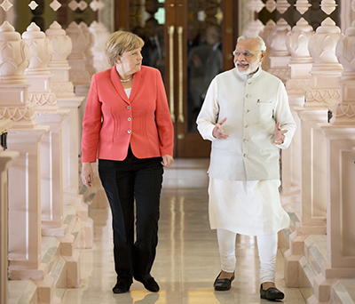 Chancellor Angela Merkel and Prime Minister Narendra Modi (2015)