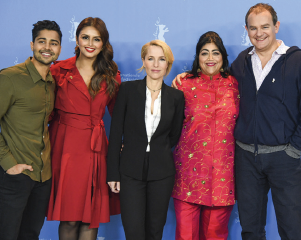 Manish Dayal, Huma Qureshi, Gillian Anderson, Gurinder Chadha, Hugh Bonneville at the Berlinale 2017