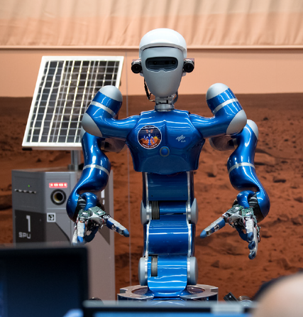"Gerst controls the robot ""Rollin' Justin"" from space"